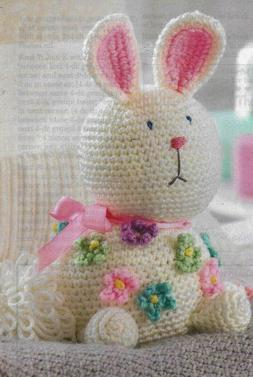 """BABY BUNNY WITH FLOWERS 11"""" STUFF ANIMAL TOY CROCHET PATTERN"""