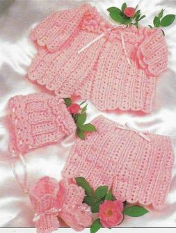 BABY OUTFIT SWEATER BOOTIES HAT 3 SIZES DIGEST SIZE CROCHET