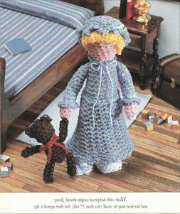 """Bedtime Doll and Bear - 5"""" tall - Size 10 crochet cotton - C"""