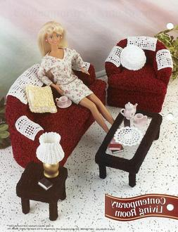 Contemporary Living Room fits Barbie Doll Crochet Pattern/In