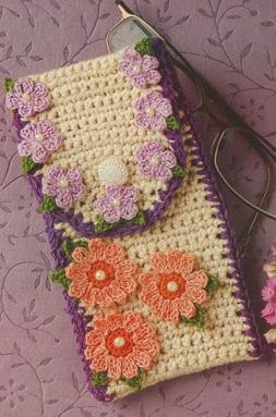 Crochet Pattern ~ Floral Accessory Case Cell Phone or Eyegla