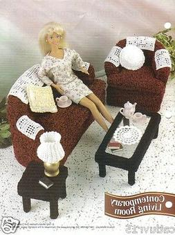 Fashion Doll Crochet Pattern - Contemporary Living Room ~ BE