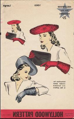 Hollywood #1003 Beret Hat & Gloves Crochet & Fabric Sewing P