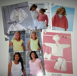 LOT of 5 SIRDAR CROCHET yarn patterns for Children Ages 2 th