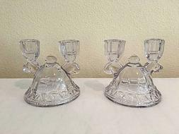 Pair of Imperial Glass Double Candleholders Crocheted Patter