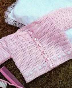 SWEET Pink Baby Sweater/Crochet Pattern INSTRUCTIONS ONLY